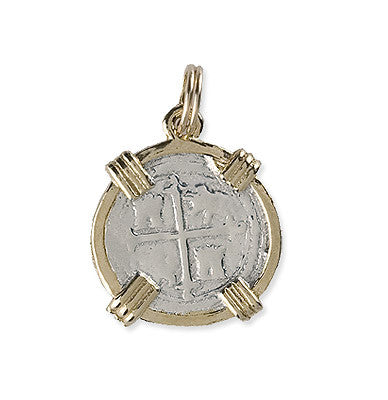 Shipwreck Jewelry Collection, Atocha Coin Re-creation medium with gold plated wrap