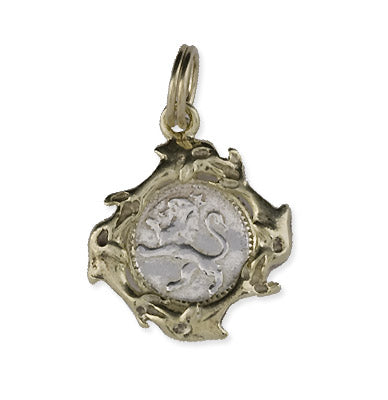 Shipwreck Jewelry Collection, Dolphin Lion Pendant with Gold Overlay Mount