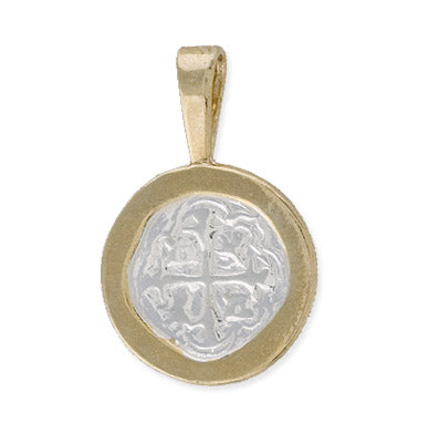 Shipwreck Jewelry Collection, Medium Cross Wrap Pendant with Gold Overlay Mount