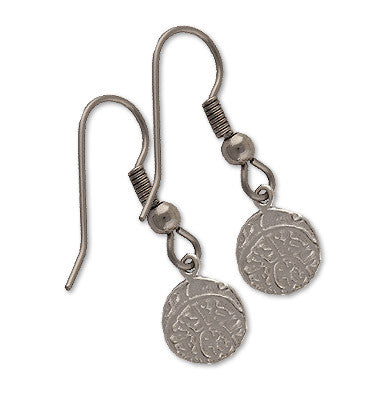 Shipwreck Jewelry Collection, Mini Pieces of Eight Atocha Re-creation Earrings, Silver