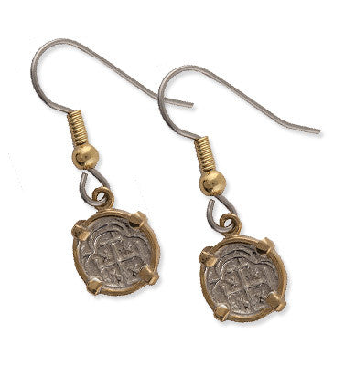 Shipwreck Jewelry Collection, Small Atocha Re-creation Earrings, Silver and Gold Plated