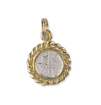 Shipwreck Jewelry Collection, Small Atocha Re-creation Coin Pendant with  Gold Plated Rope Bezel