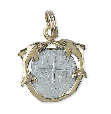 Shipwreck Jewelry Collection, Small Double Dolphin Pendant around Atocha Re-creation Coin