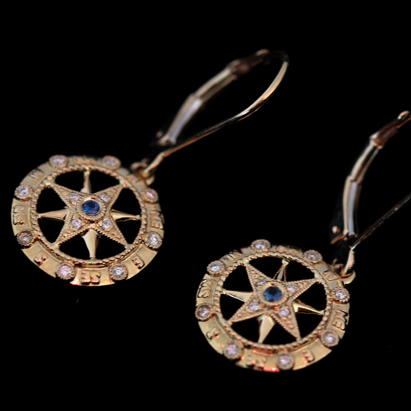 14K Gold Compass Rose Earrings with Sapphire and Diamonds