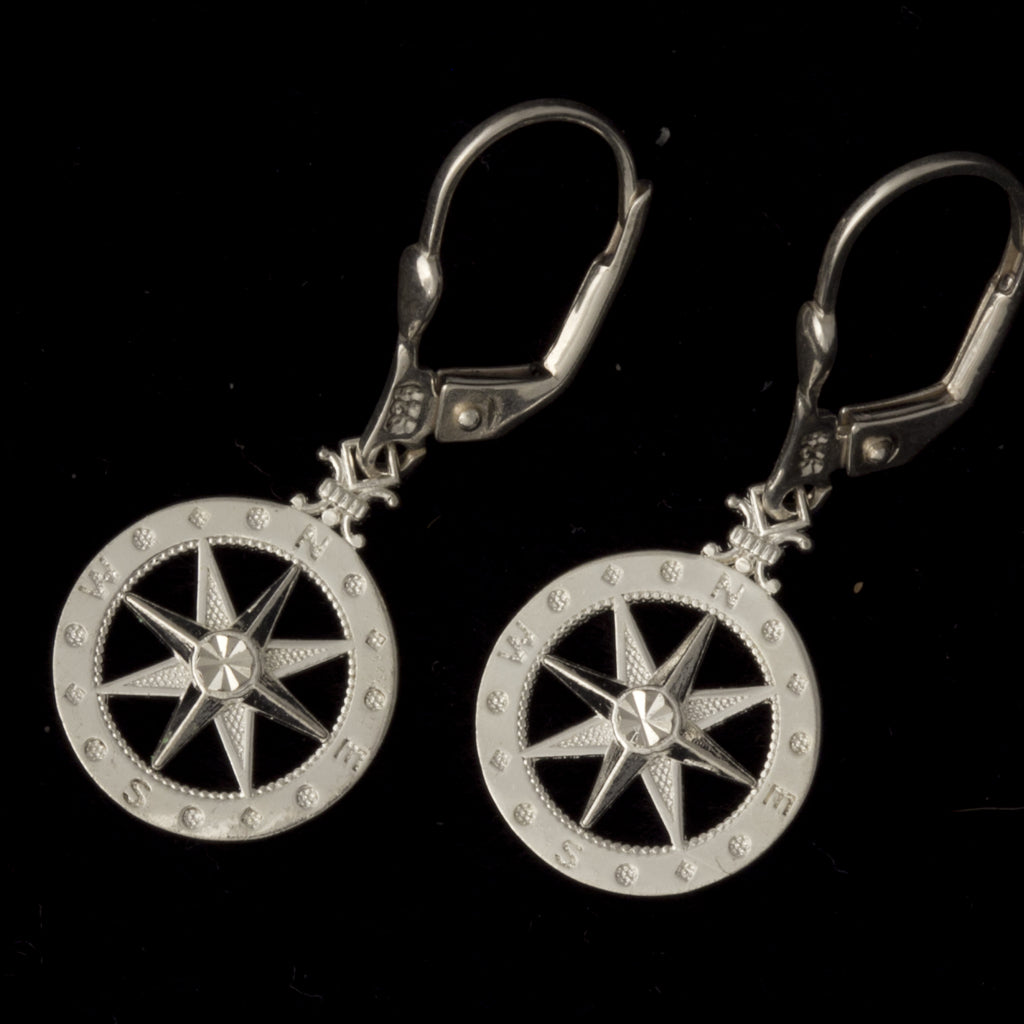 Silver Compass Rose Earrings