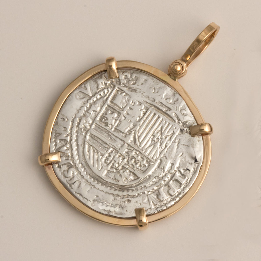 Taffi Fisher Collection 2 Reales Atocha Re-creation Silver Coin with 14K Mount, Shield Side