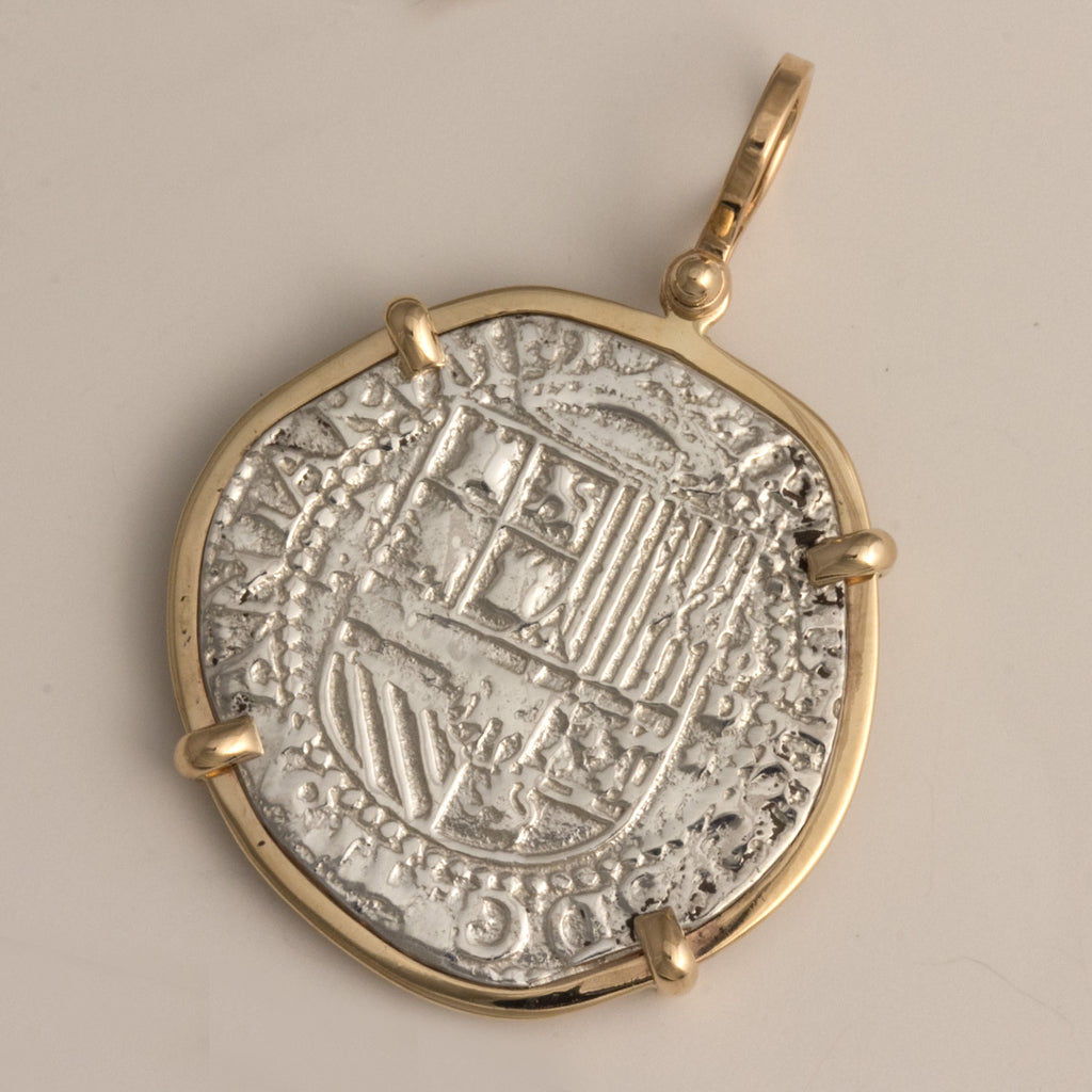 Taffi Fisher Collection 4 Reale Atocha Re-creation Silver Coin, 14K Gold Single Prong, Shield Side