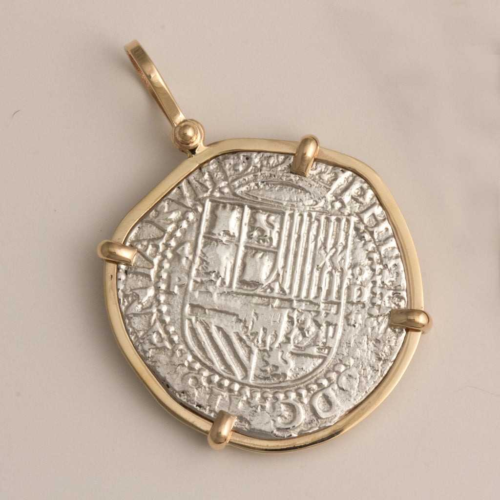 Taffi Fisher Collection 4 Reale Atocha Re-creation Silver Coin, 14K Gold Single Prong, Cross Side