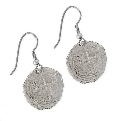 Taffi Fisher Collection 1 Reale Atocha Re-creation Silver Coin Earrings, Cross Side