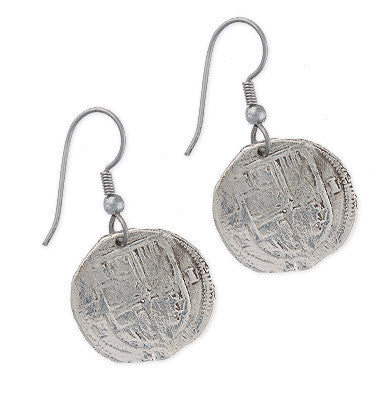 Taffi Fisher Collection 1 Reale Atocha Re-creation Silver Coin Earrings, Shield Side