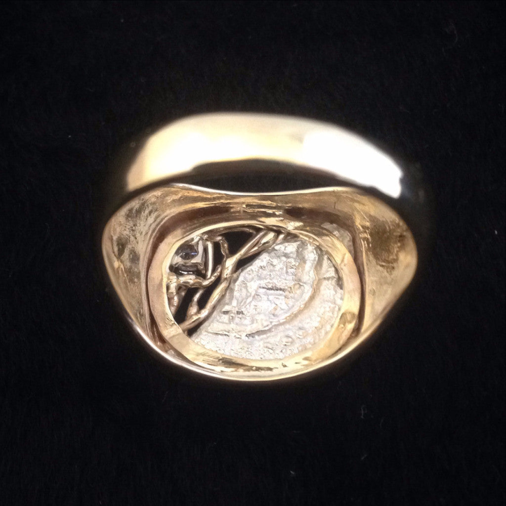 Authentic Atocha Silver Coin, Grade 5, 2 Reales, Mounted in 14K Gold Ring with Diamond
