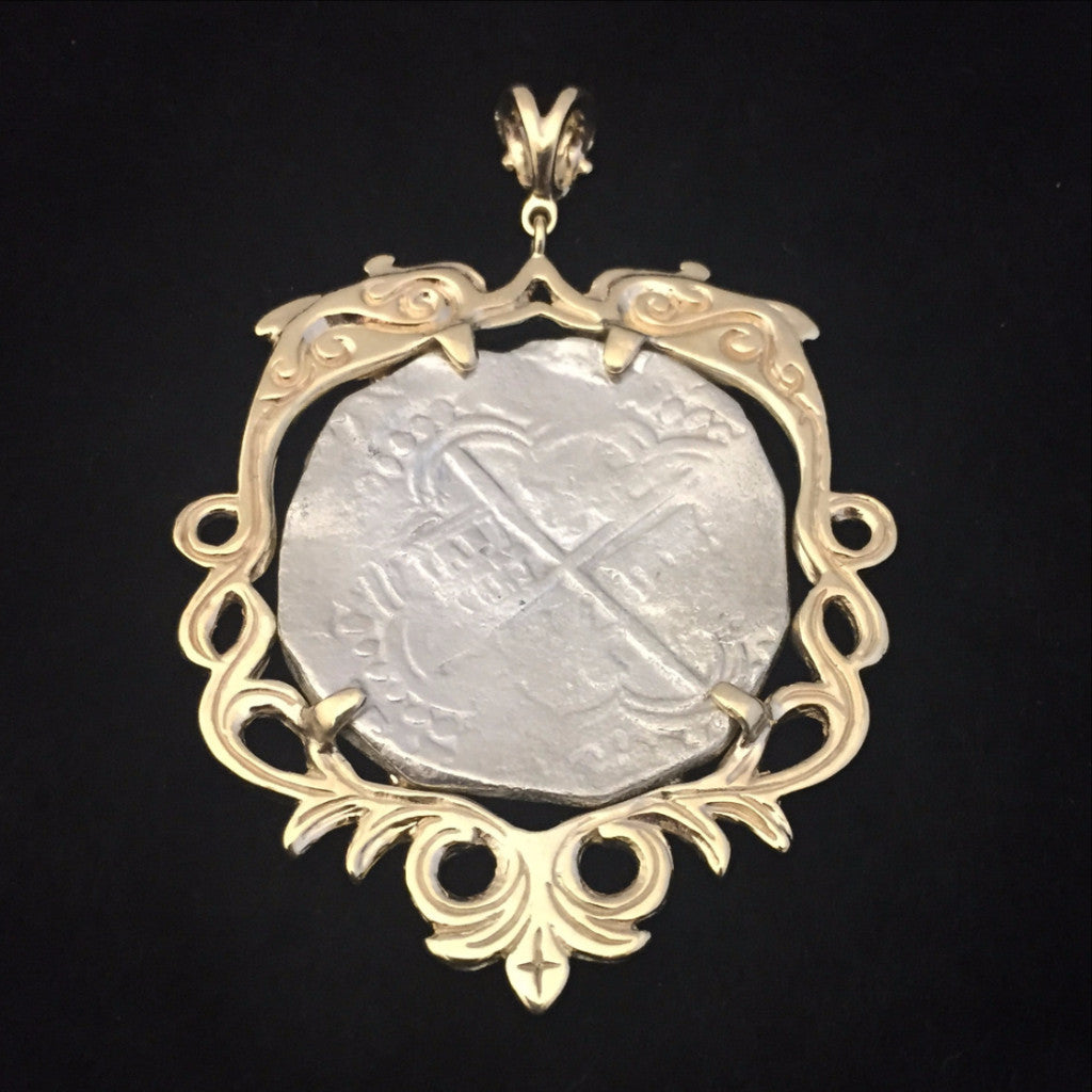Authentic Atocha Silver Coin, Grade 1, 8 Reales, Mounted in 14K Gold Steven Douglas Designer Mount