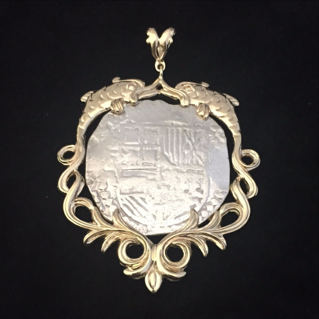 Authentic Atocha Silver Coin, Grade 1, 8 Reales, Mounted in 14K Gold