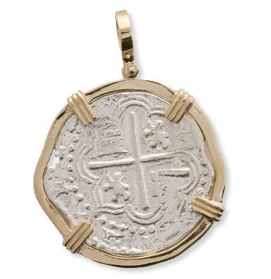 Atocha Re-creation Coin Pendant 4 Reales Double Prong in 14K Gold Mount