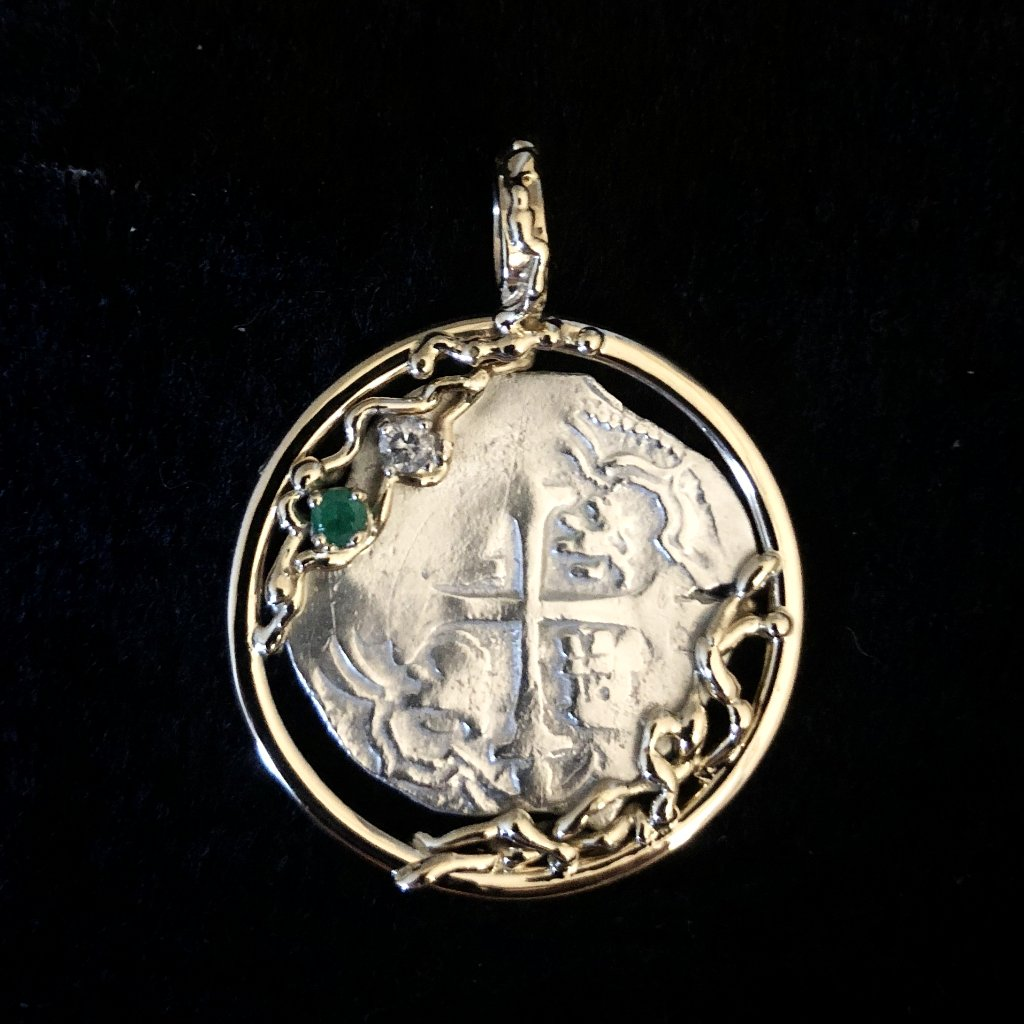 Authentic  Atocha  Silver Coin, Grade 1 , 1 Reale mounted in 14K, Diamond 0.6 CT, Emerald 0.07 CT