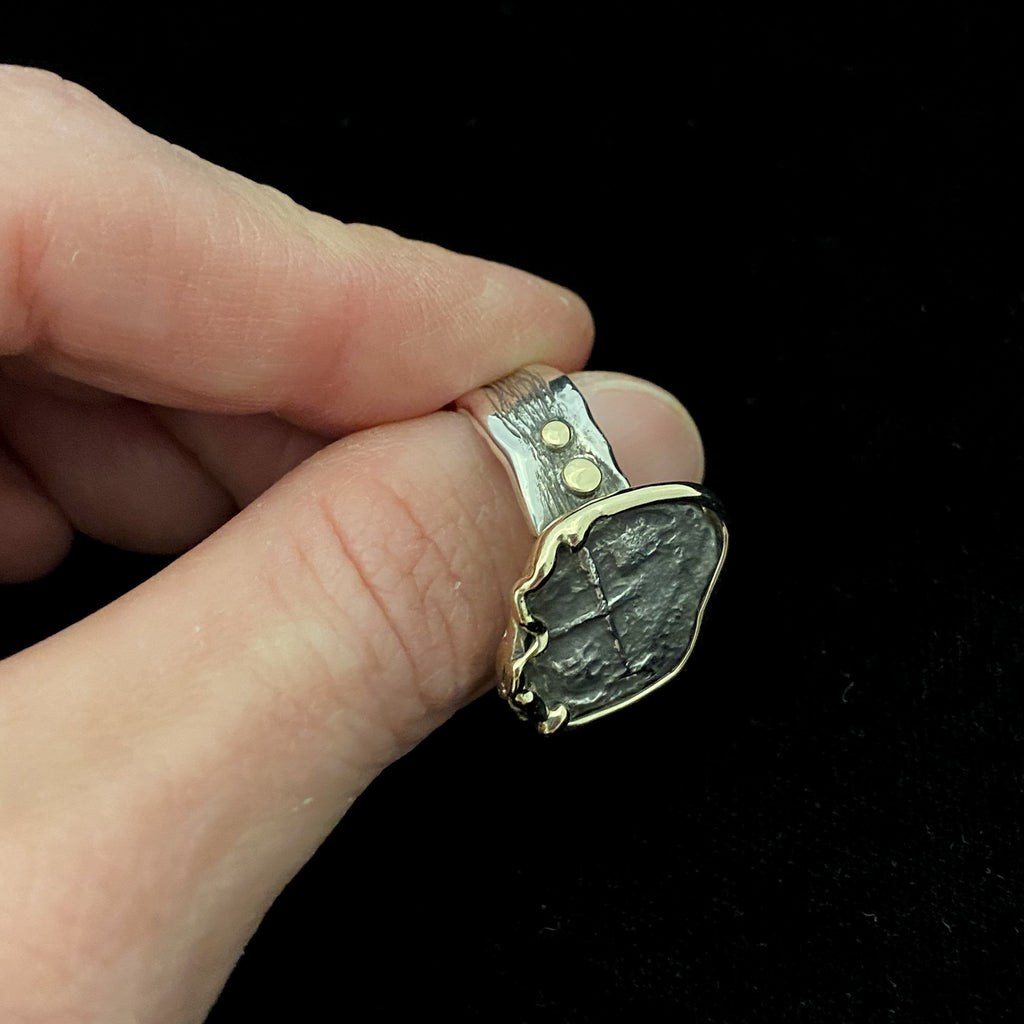 Authentic Silver Coin from Princess Louisa Shipwreck mounted in SS/14k ring