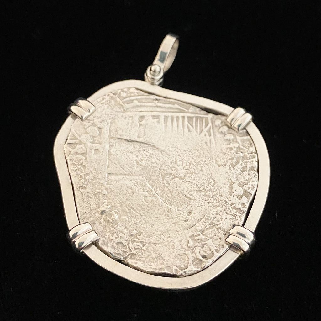 Authentic Atocha coin in silver mount