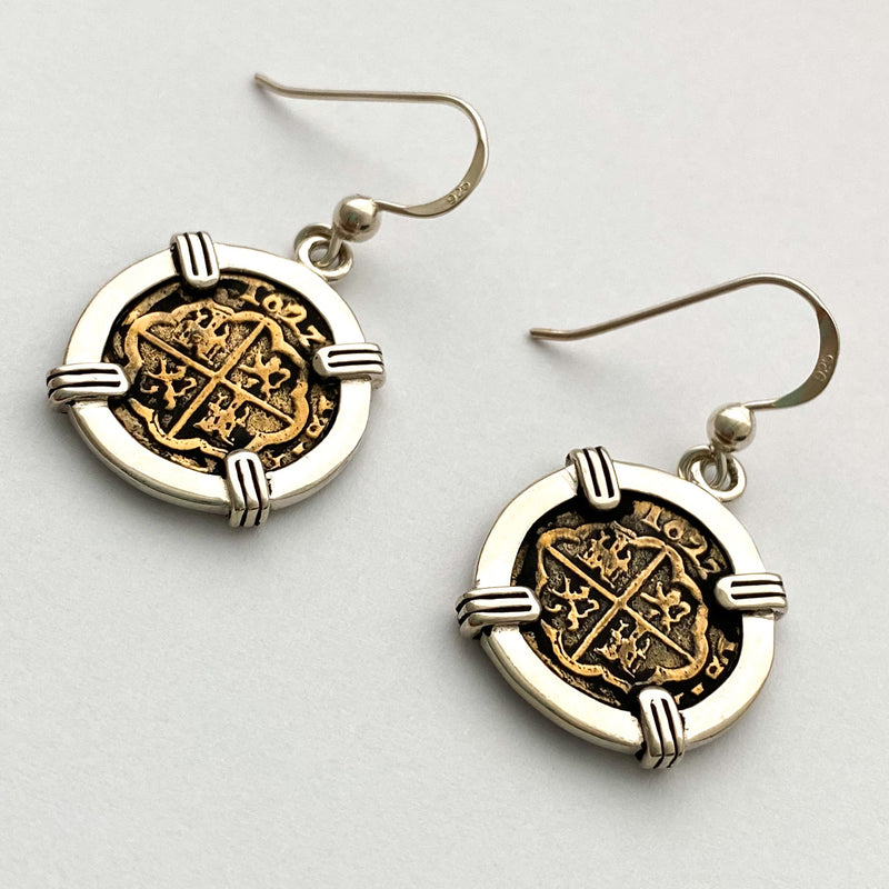 Atocha Re-creation Coin Earrings, 1/2 Reale  with double prongs in Sterling Silver
