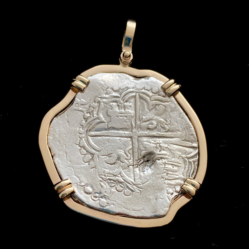 Authentic Margarita Silver Coin, Grade 1, 8 Reales mounted in 14K Bezel