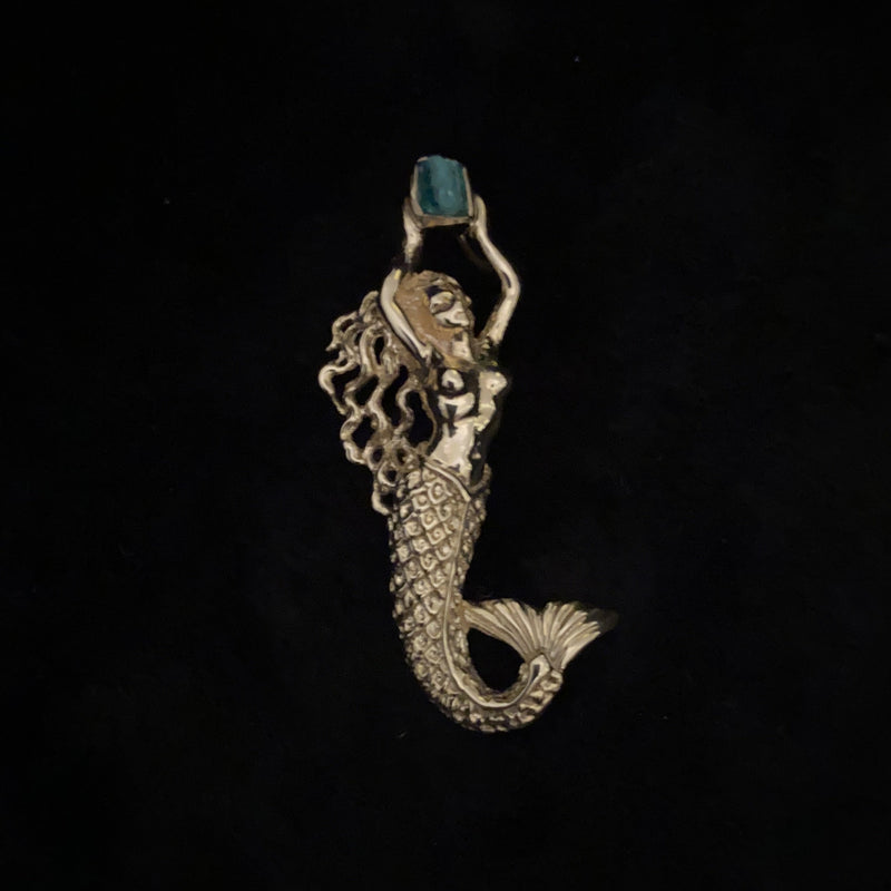 Authentic Atocha Emerald, Class 1B, .56 CT, Mounted in 14K Gold,  Mermaid Pendant