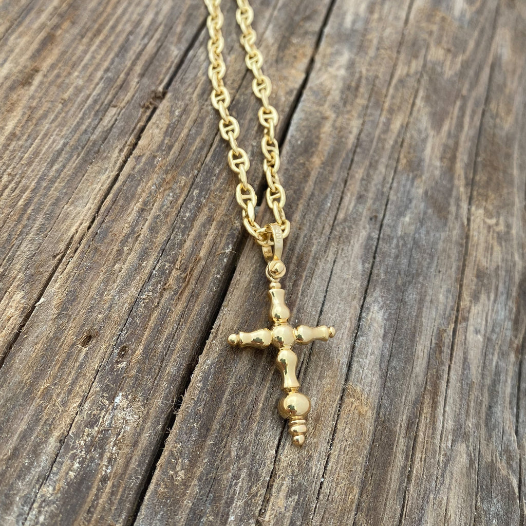 14k gold Large Atocha Cross on 14k gold hollow anchor chain