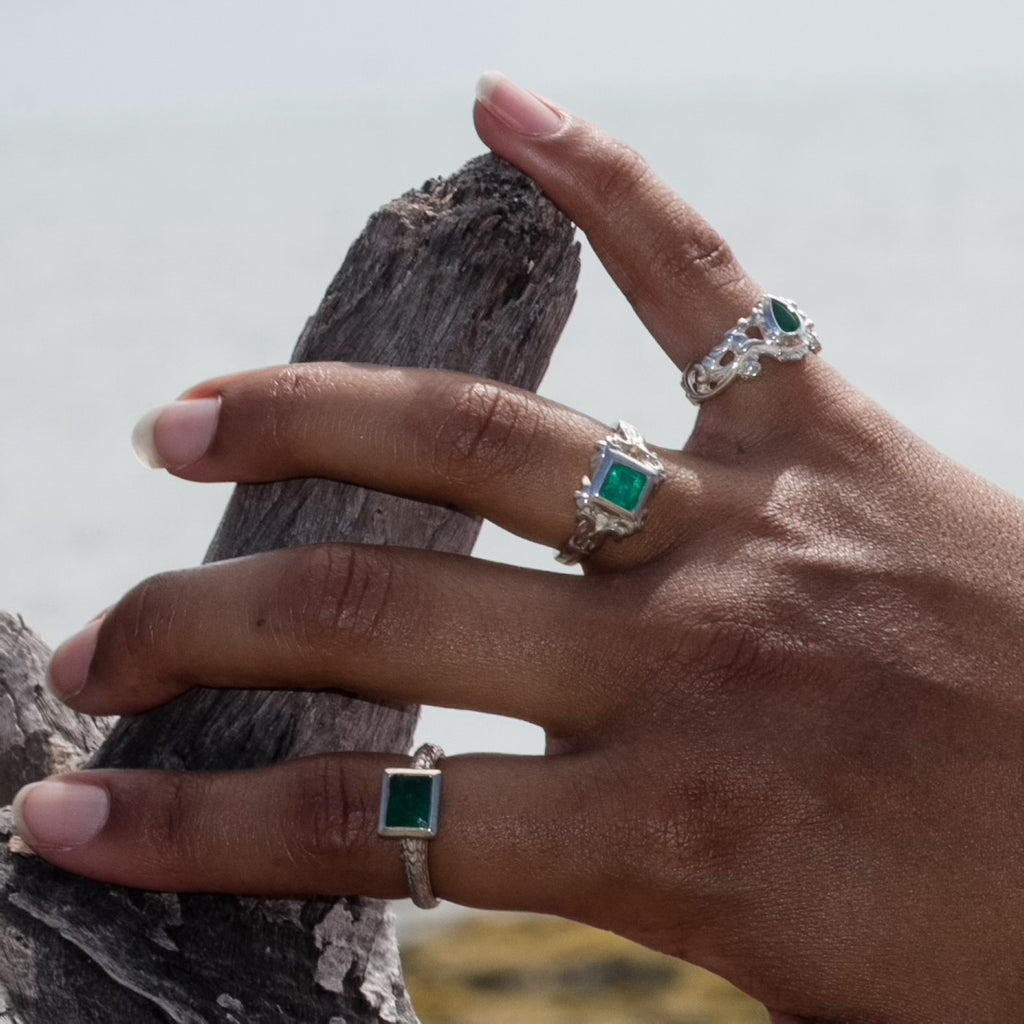Sterling Silver Emerald Lace Ring