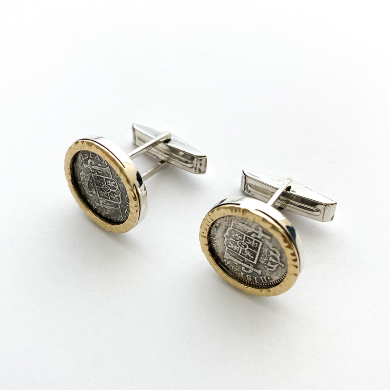 El Cazador Shipwreck coins mounted in 14/SS cuff links