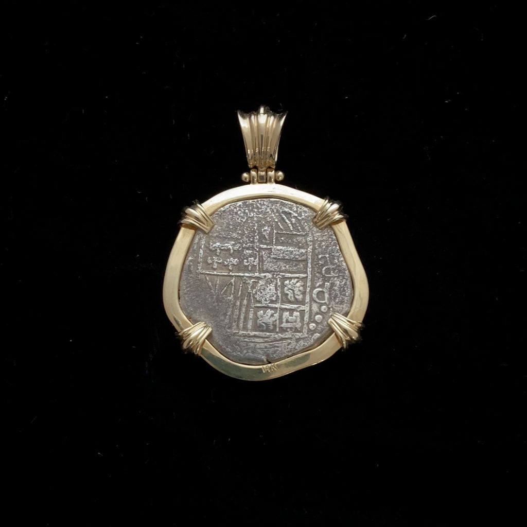 Authentic Atocha Silver Coin, Grade 1, 4 Reales mounted in 14K Bezel with 0.14 CT Diamond, Rare Mint Master