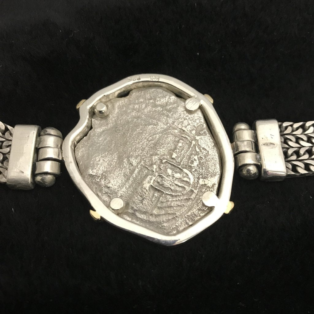 Authentic Atocha Silver Coin, Grade 3, 8 Reales, Mounted in 14K/SS, Designer Bracelet by Blue Sophia Key West