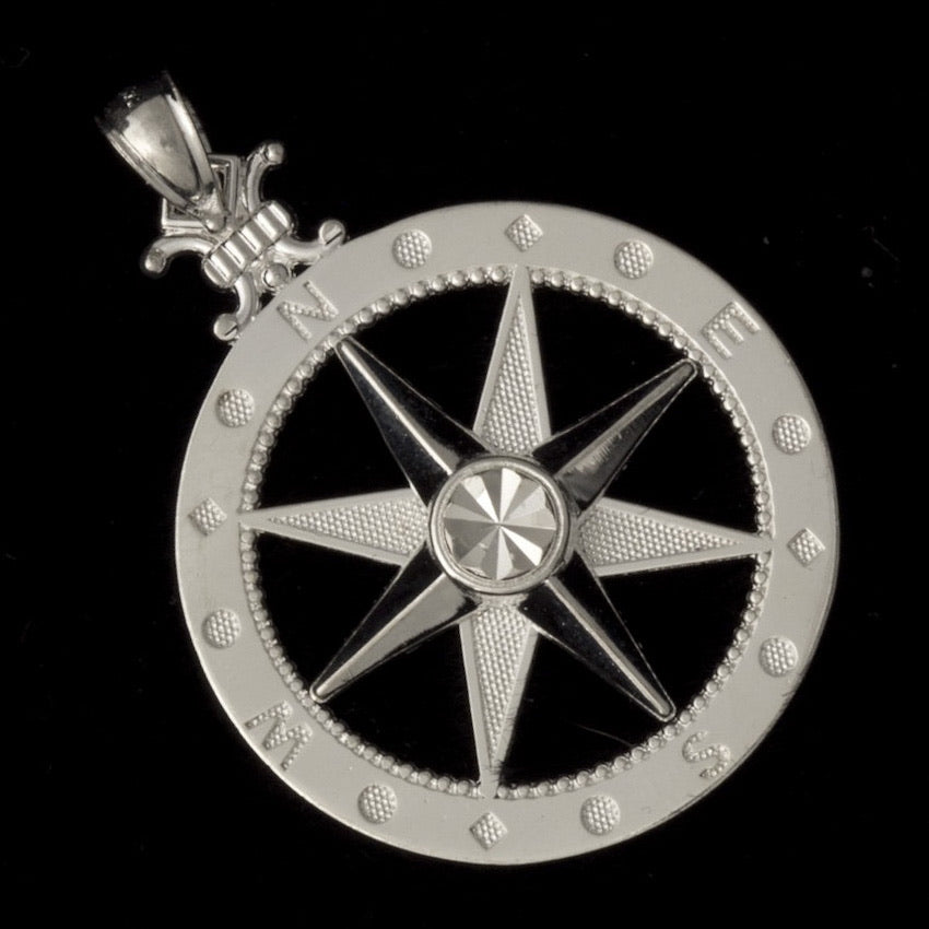 Sterling Silver Large Sized Compass Pendant