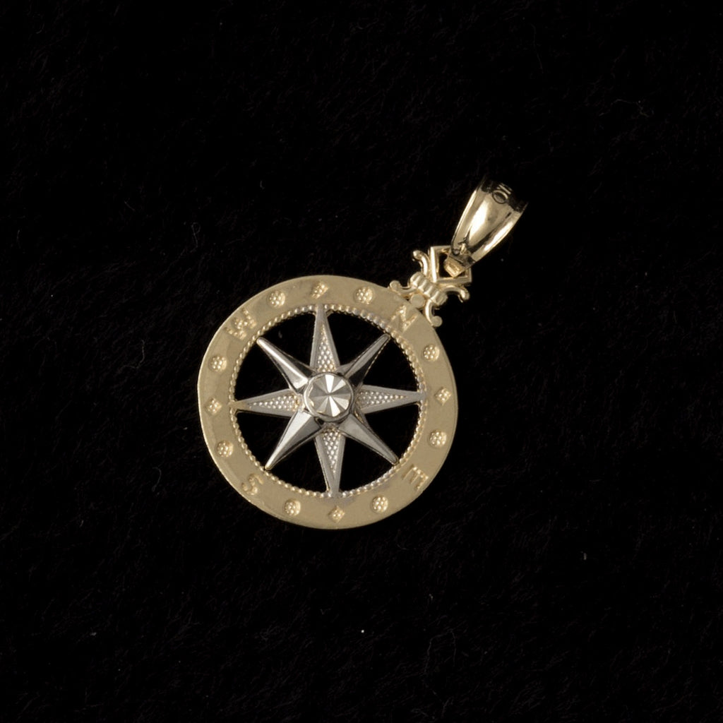 14K Yellow / White Gold Compass Pendant