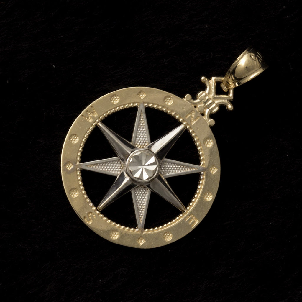 14K Yellow / White Gold Medium Compass Pendant