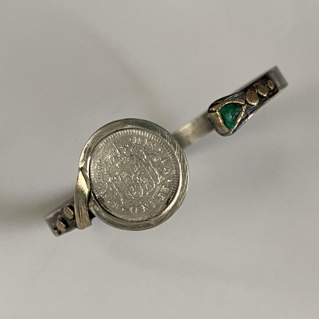 El Cazador, 1/2 Reale,  mounted in 14K Gold and Silver bracelet