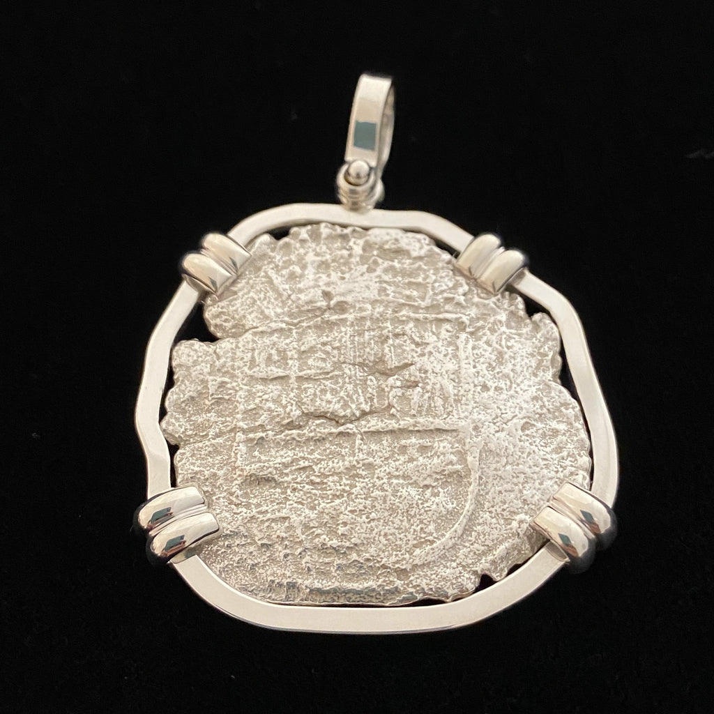 Authentic Atocha Silver Coin, Grade 3, 8 Reales in Silver bezel