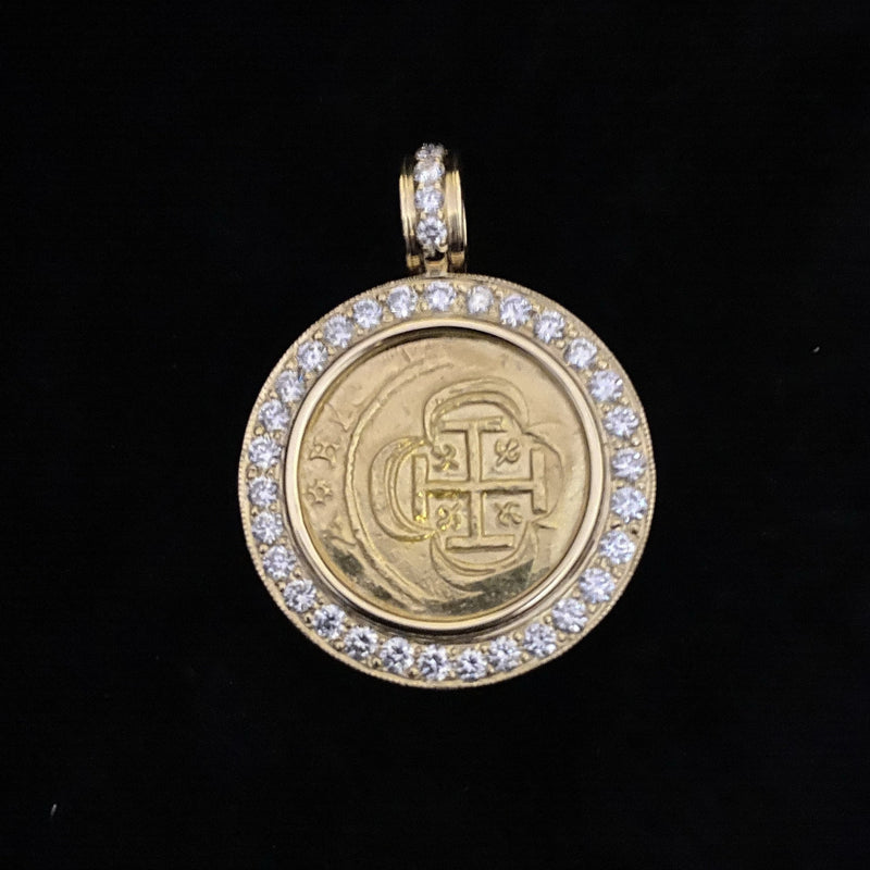 1715 Fleet gold 2 Escudos, Almost Uncirculated mounted in 18k gold bezel with diamonds, 1.81CT