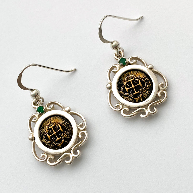 Atocha Re-creation Coin Earrings, 1/2 Reale in Sterling Silver, with emerald