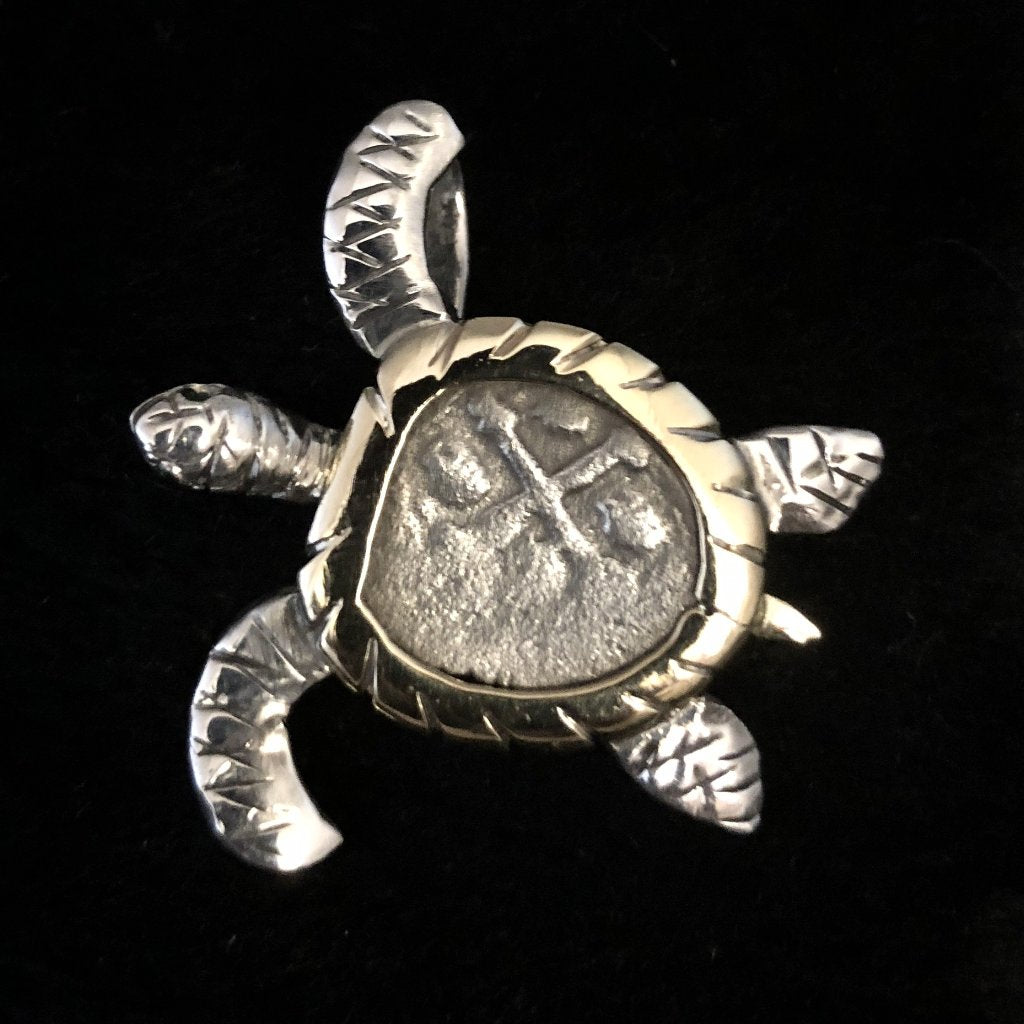 1715 Fleet Grade 3, Half Reale Silver Coin Mounted in 14K/SS, Turtle with Emerald eyes