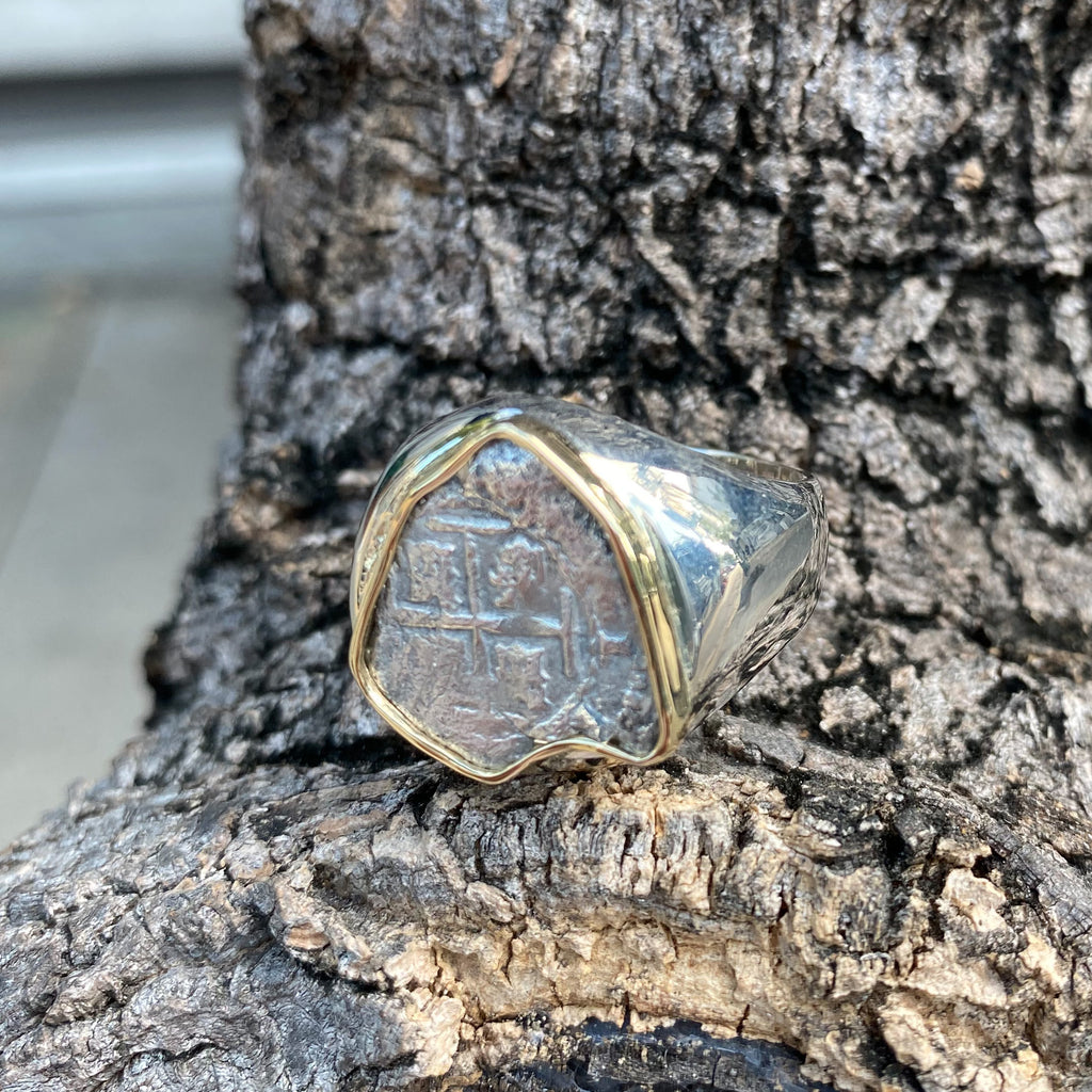 Spanish Rimac River Cob mounted in SS/14K Ring, size 10