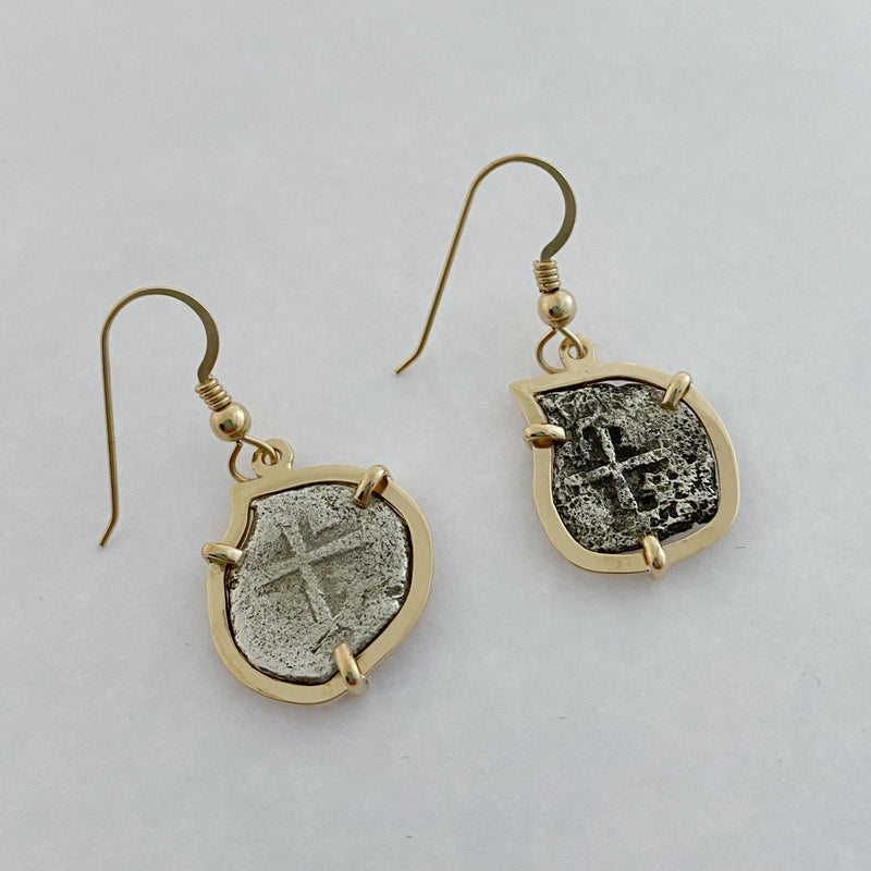 Authentic Spanish Land Cob coin set into 14k earrings