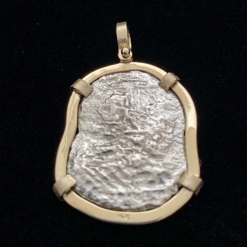 Authentic Margarita Silver Coin, Grade 4 , 4 Reales in 14K mount