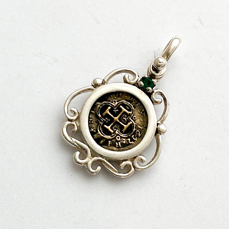 Atocha Re-creation Coin Pendant 1/2 Reale in Sterling Silver, with emerald