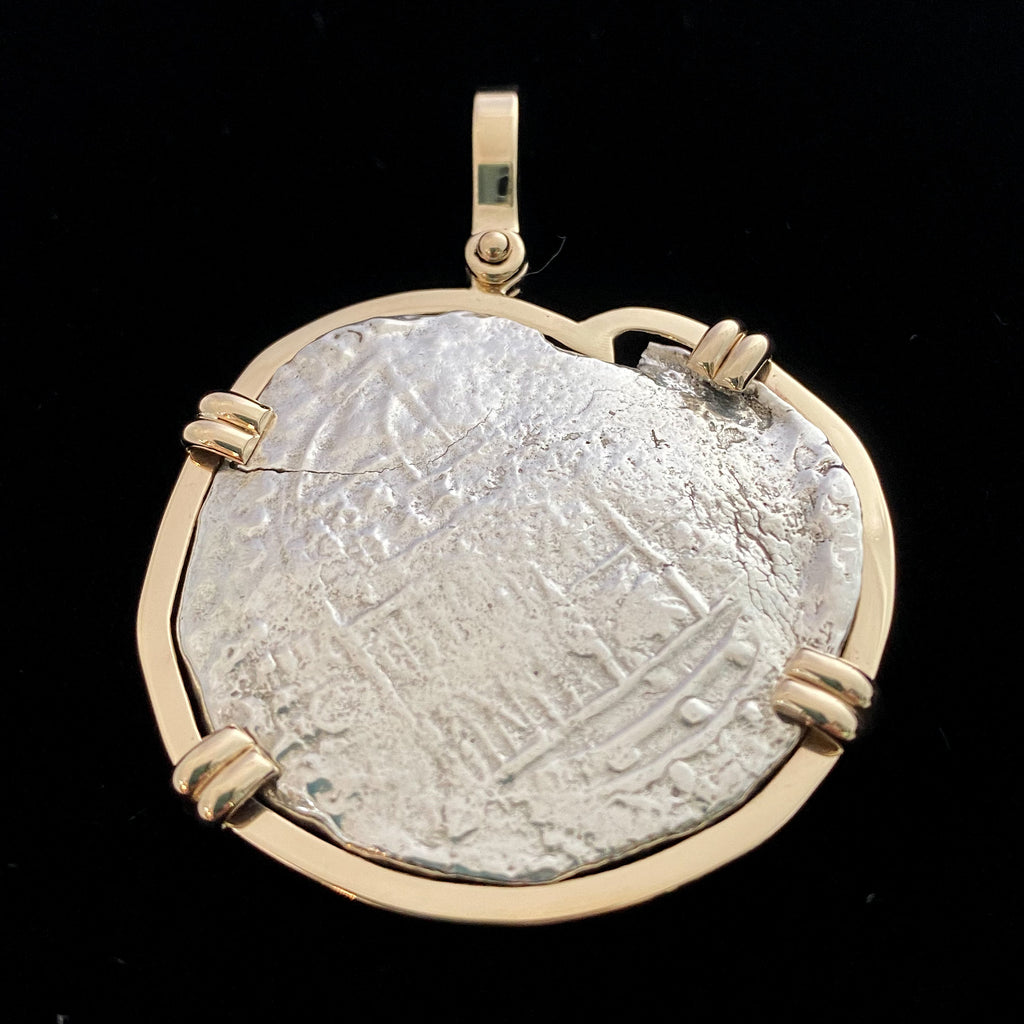 Authentic Margarita Silver Coin, Grade 2, 8 Reales Mounted in 14K