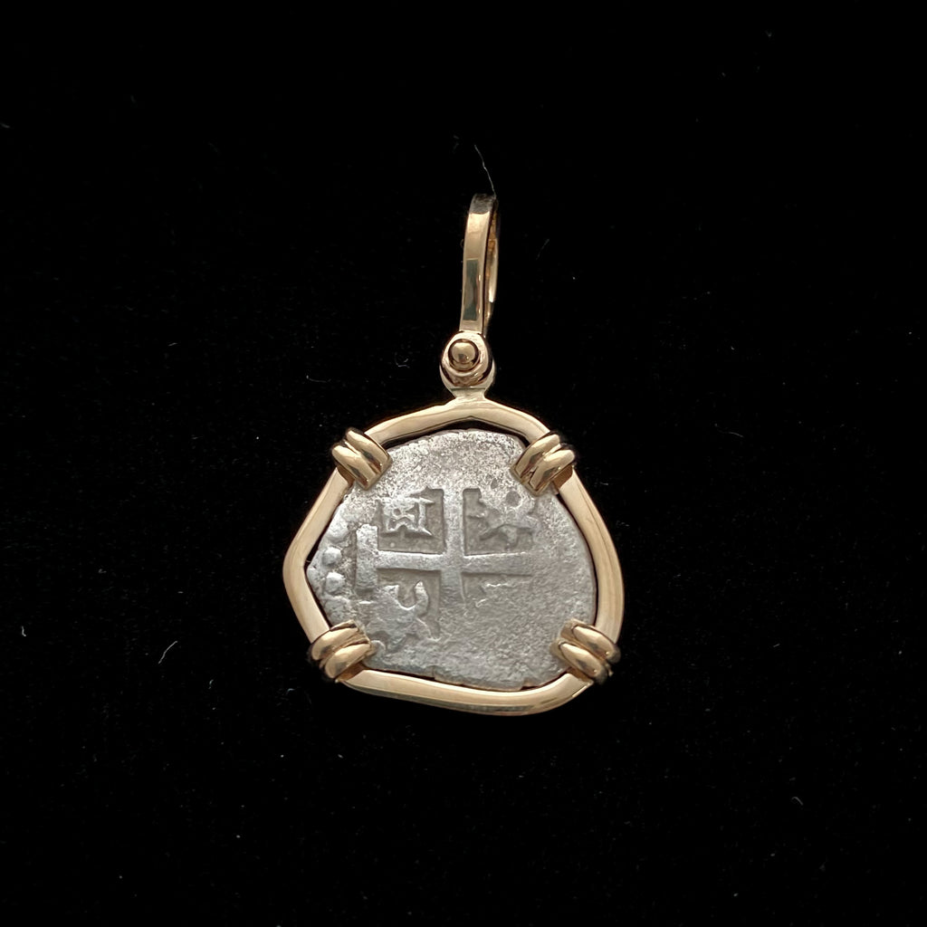 Rimac River Cob Coin mounted in 14k gold pendant