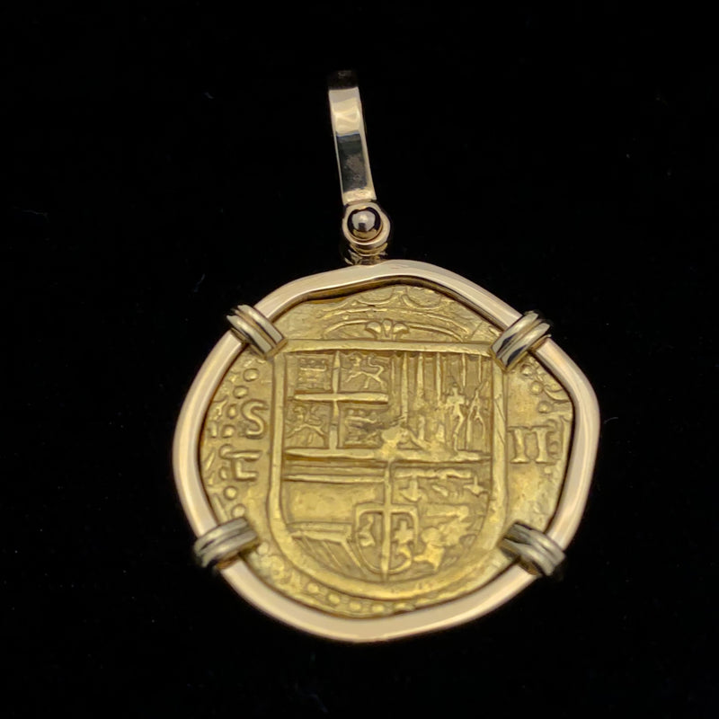NEW ARRIVAL! Non-shipwreck Gold Coin, 2 Escudos mounted in 18k gold