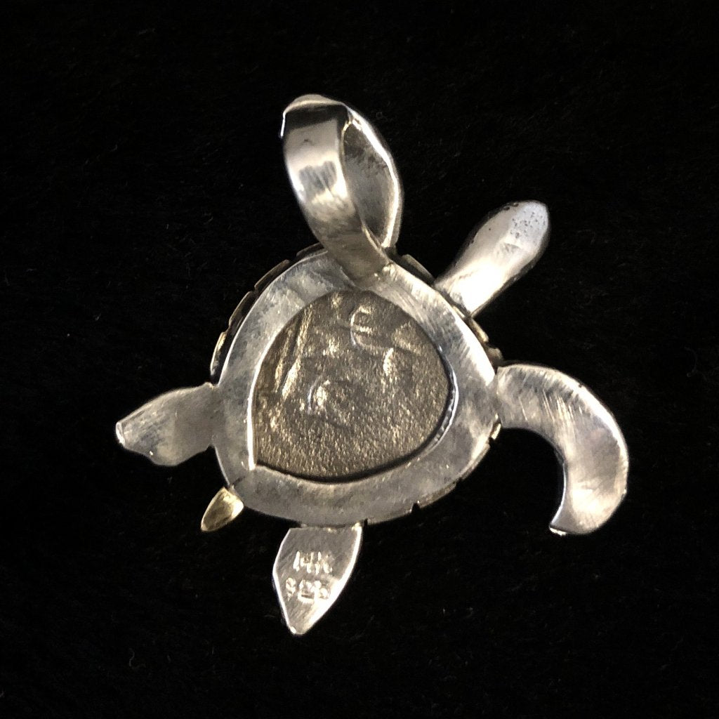1715 Fleet Grade 4, Half Reale Silver Coin Mounted in 14K/SS, Turtle with Emerald eyes