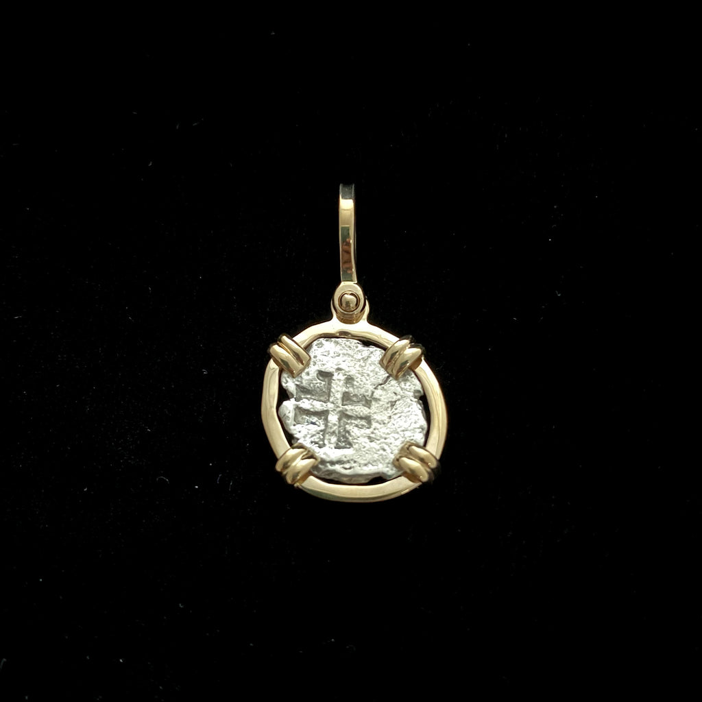 Rimac River Cob Coin in 14k gold pendant
