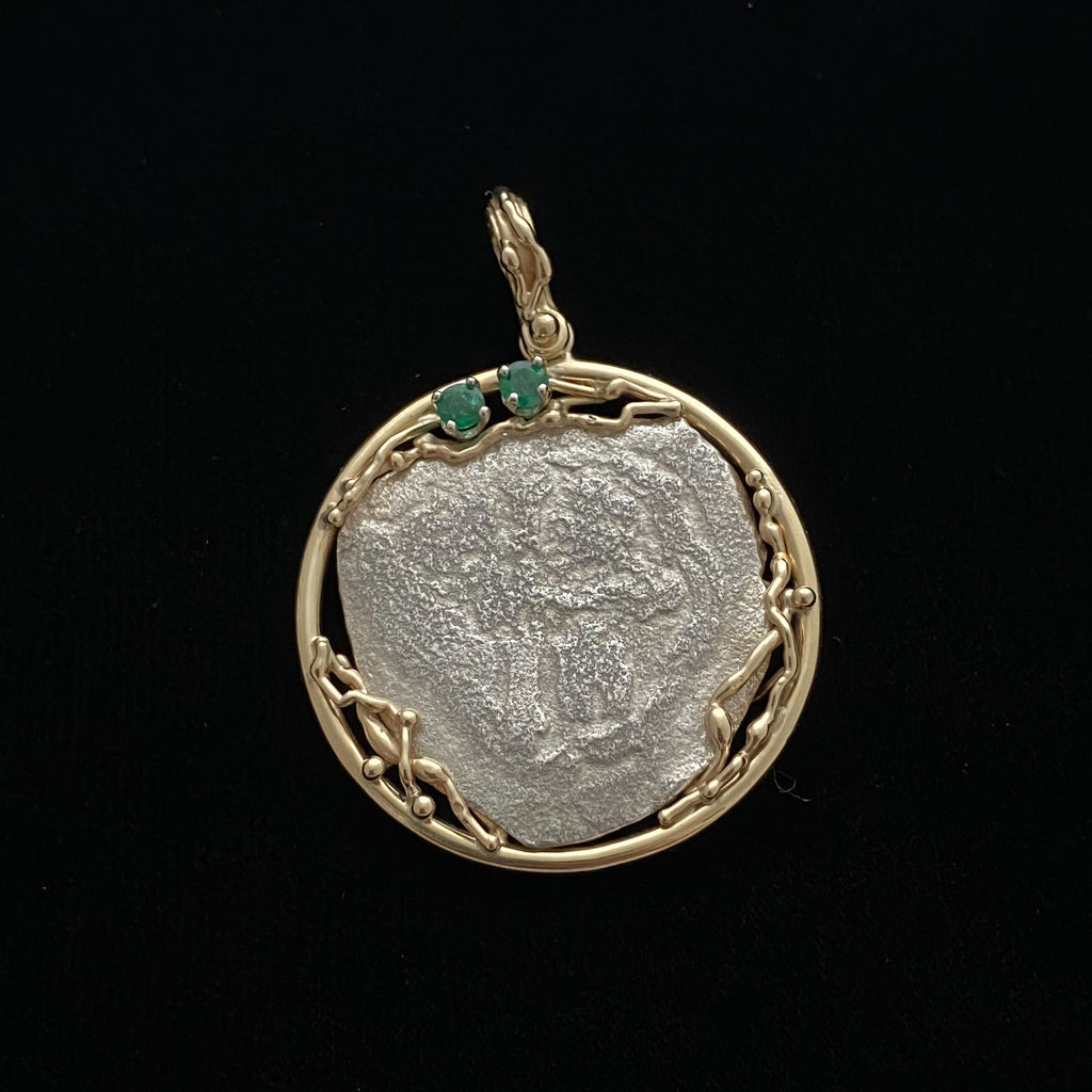 1715 Fleet 4 Reales Silver Coin, Grade 3, in 14k gold mount w/ emeralds