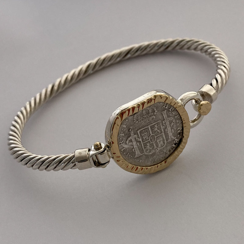 El Cazador, 1 Reale coin mounted in 14K Gold and Silver bracelet