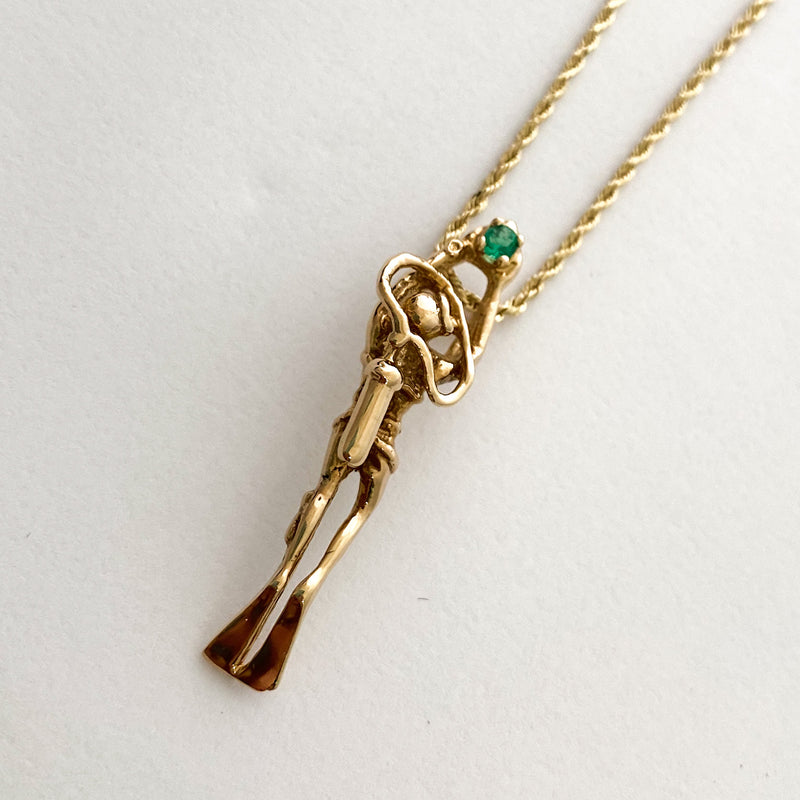Un-Cut Colombian Emerald, Mounted in 14k with chain