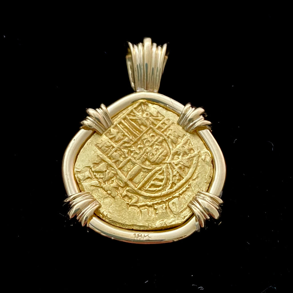 Authentic 1715 Fleet 2 Escudos in 18k gold
